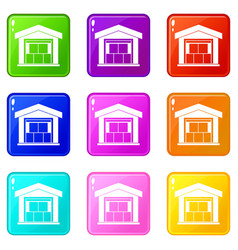 warehouse building set 9 vector image vector image