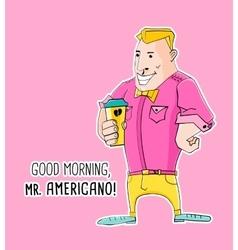Mister americano coffee in hipster style vector