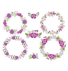 Purple Wreath Set vector image