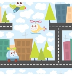 Kids pattern with city landscape cute helicopter vector