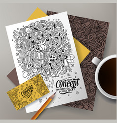 Cartoon doodles idea corporate identity set vector