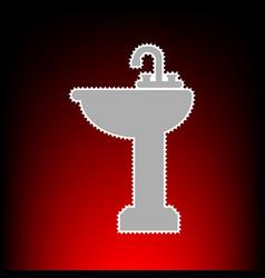 bathroom sink sign postage stamp or old photo vector image