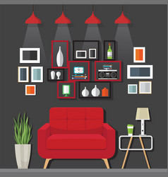 Living room furniture ideas vector
