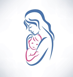 Mother and son symbol vector