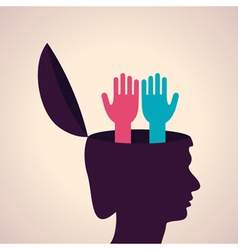 Thinking concept-Human head with hand symbol vector image