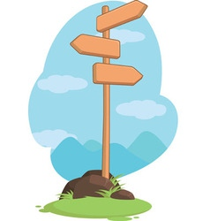Wooden mountain guidepost sign vector