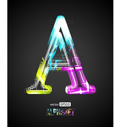 Design light effect alphabet letter a vector