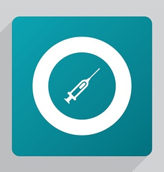 Flat syringe icon vector