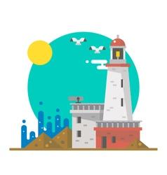 Flat design of lighthouse on a beach vector image
