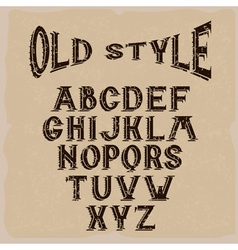 Old style grunge alphabet for labels vector