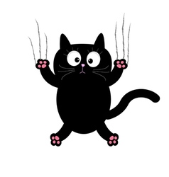 Cartoon black cat claw scratch glass white vector
