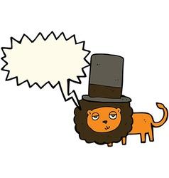 Cartoon lion in top hat with speech bubble vector