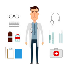 a doctor set of a man with medicine elements flat vector image