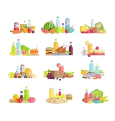 Big Collection of Food Concepts in Flat Design vector image vector image