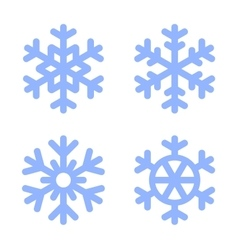 Blue Snowflake Icons Set on White Background vector image