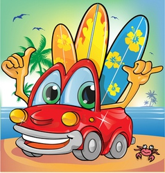 Car holyday on summer background vector