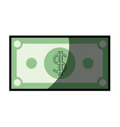 Colorful silhouette of dollar bill with half vector