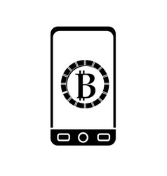 Contour smartphone with bitcoin currency symbol vector