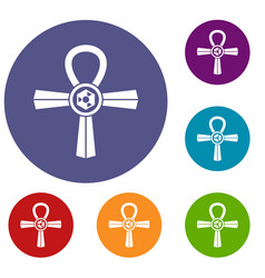 Egypt ankh symbol icons set vector
