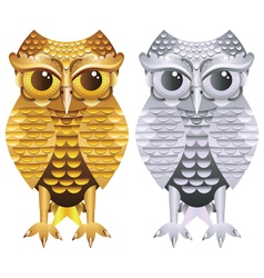 Golden and Silver Owl vector image vector image