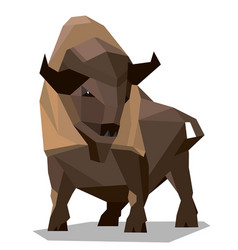 Golden brown bison in a geometric style vector