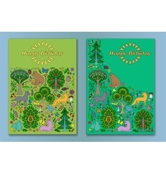 Greeting cardwith Wonderland Fun Forest vector image vector image
