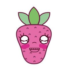 Kawaii cute happy strawberry fruit vector