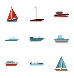 Maritime transport icons set flat style vector