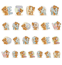 names for boys ethan andrew daniel william made vector image