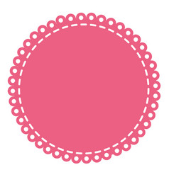 Pink circular decorative frame with border rings vector