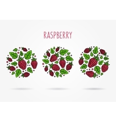 Raspberry round labels creative concept vector