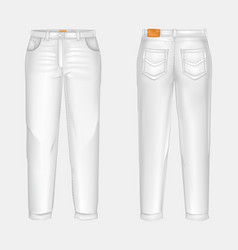 realistic white casual jeans vector image