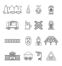 Train railroad icons set outline style vector