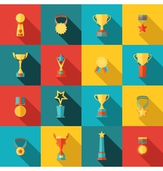 Trophy icons set flat vector image