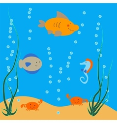 Underwater ocean dwellers vector