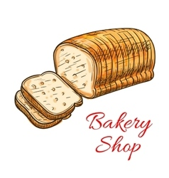 Wheat bread sketch for bakery shop design vector