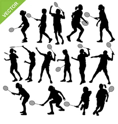 Women silhouettes play badminton vector
