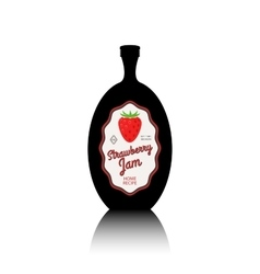 Strawberry jam black bottle with label vector