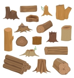 Wood stumps set vector