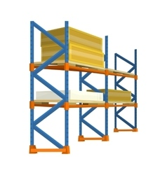 Pallet with boxes in warehouse interior delivery vector