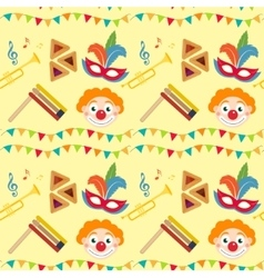 Purim seamless pattern with carnival elements vector image