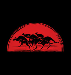 Group of kangaroo jumping graphic vector