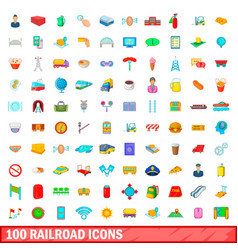 100 railroad icons set cartoon style vector