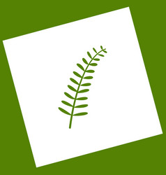 olive twig sign  white icon obtained as a vector image