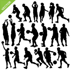 Men play basketball silhouettes vector