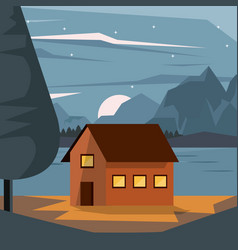 Colorful background of nightly landscape with vector