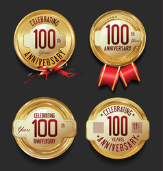 Anniversary retro golden labels collection 100 vector