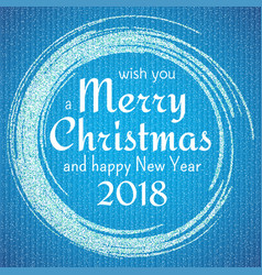 2018 blue and white card with merry christmas vector image vector image