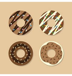 Set of chocolate donuts vector