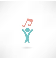 People with music icon vector
